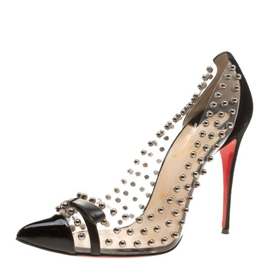 Christian Louboutin Leather Suede Pointed Toe Black Pumps Image 1