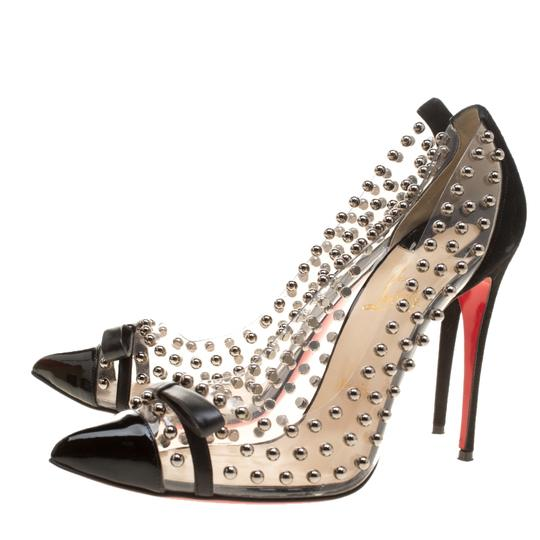 Christian Louboutin Leather Suede Pointed Toe Black Pumps Image 3