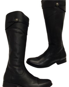 Frye Molly Button' Knee High Riding Leather Black Boots