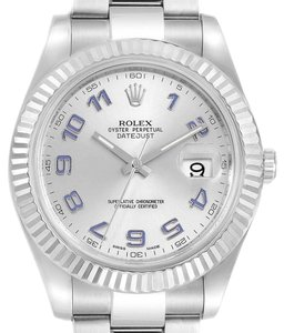 Rolex Rolex Datejust II 41 Steel White Gold Fluted Bezel Watch 116334 Box