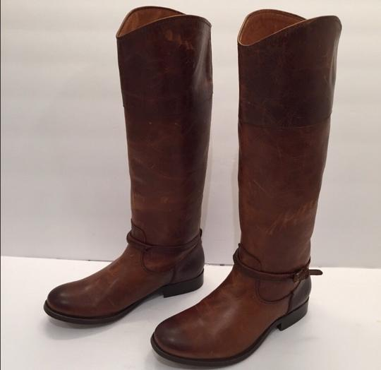 Frye Melissa Seam Leather Brown Boots Image 3