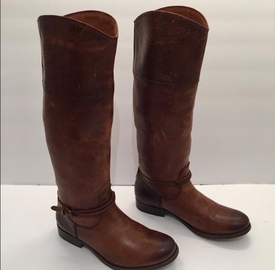 Frye Melissa Seam Leather Brown Boots Image 4