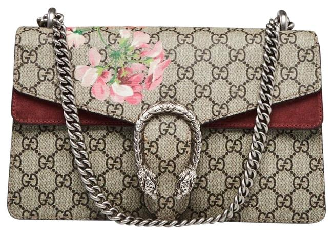 Gucci Dionysus Beige/Ebony Gg Supreme Small Blooms Print Canvas/Suede Shoulder Bag Gucci Dionysus Beige/Ebony Gg Supreme Small Blooms Print Canvas/Suede Shoulder Bag Image 1