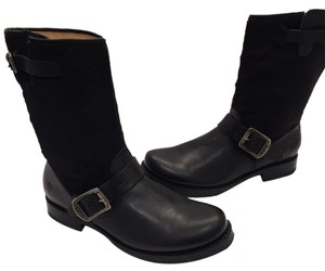 Frye Veronica Genuine Calf Hair Leather Black Boots