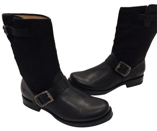 Frye Veronica Genuine Calf Hair Leather Black Boots Image 0