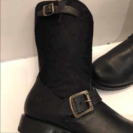 Frye Veronica Genuine Calf Hair Leather Black Boots Image 2