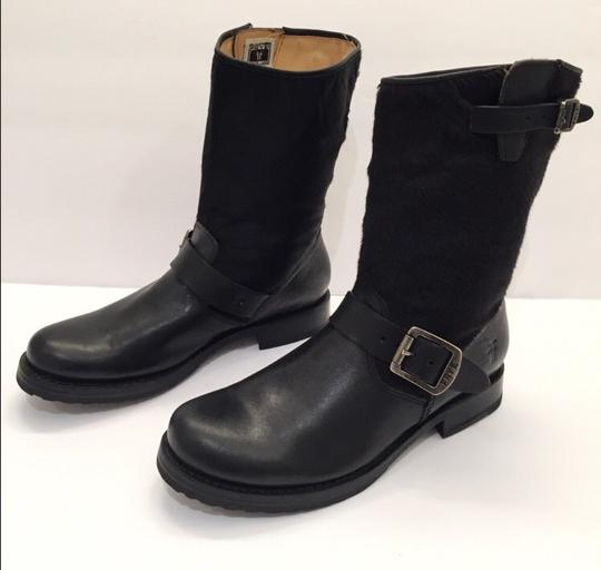 Frye Veronica Genuine Calf Hair Leather Black Boots Image 3