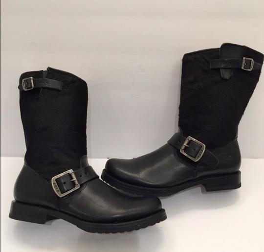Frye Veronica Genuine Calf Hair Leather Black Boots Image 5