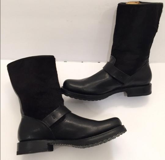 Frye Veronica Genuine Calf Hair Leather Black Boots Image 7