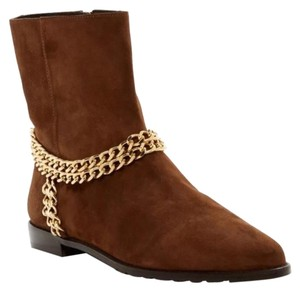 Stuart Weitzman Gold Chainit Zip Walnut Boots