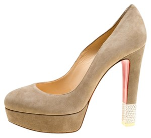 Christian Louboutin Suede Crystal Beige Pumps