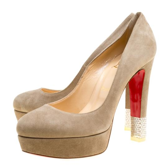 Christian Louboutin Suede Crystal Beige Pumps Image 1
