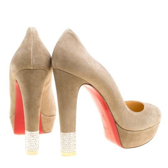 Christian Louboutin Suede Crystal Beige Pumps Image 4