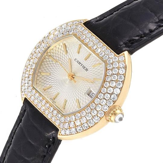 Cartier Cartier Tortue 18K Yellow Gold Diamond Silver Dial Ladies Watch 1481 Image 4