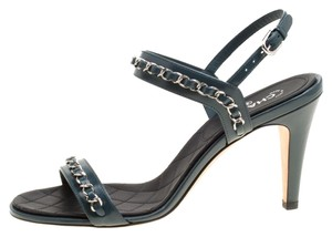 Chanel Leather Ankle Strap Blue Sandals