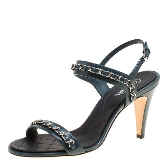 Chanel Leather Ankle Strap Blue Sandals Image 1