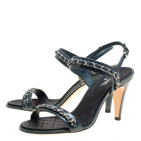 Chanel Leather Ankle Strap Blue Sandals Image 2