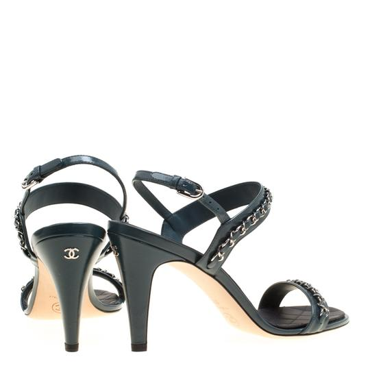 Chanel Leather Ankle Strap Blue Sandals Image 3