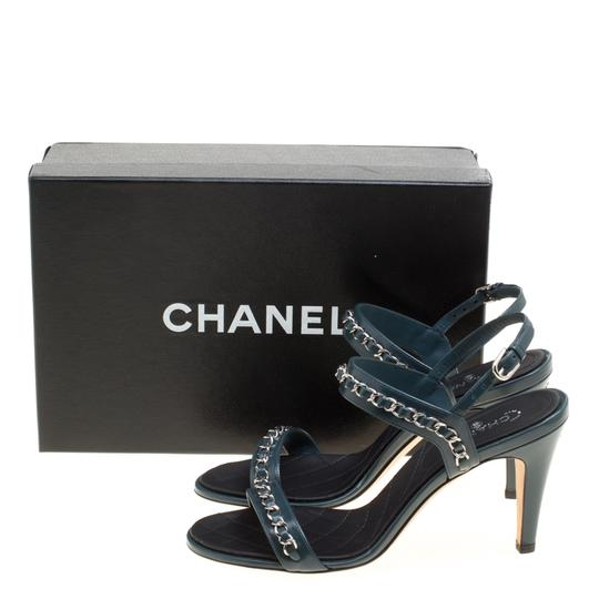 Chanel Leather Ankle Strap Blue Sandals Image 7