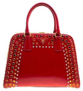 Prada Patent Leather Top Handle Satchel in Red