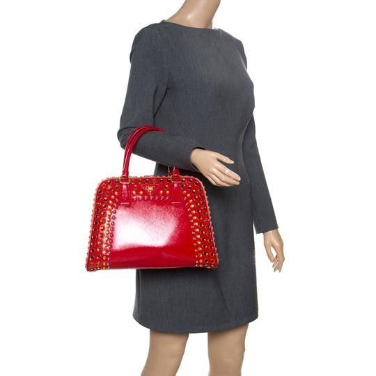 Prada Patent Leather Top Handle Satchel in Red Image 2