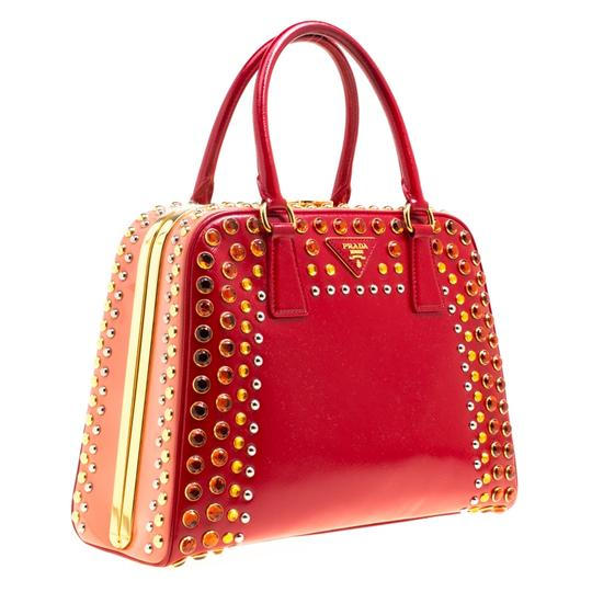 Prada Patent Leather Top Handle Satchel in Red Image 3