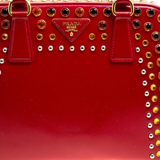 Prada Patent Leather Top Handle Satchel in Red Image 7