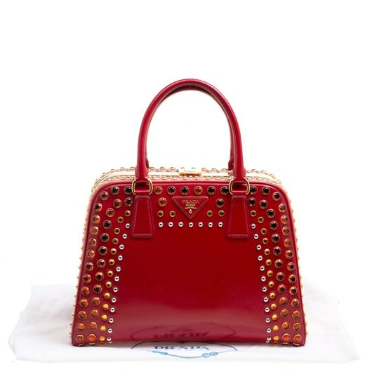 Prada Patent Leather Top Handle Satchel in Red Image 8