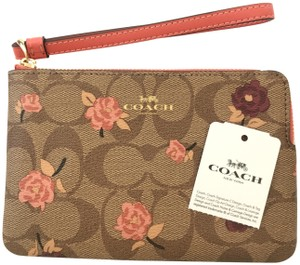 Coach Iphone Android Case Pouch Pochette Travel Makeup Strap Zippy Wallet Purse Toiletry Change Wristlet in Pink/Silver