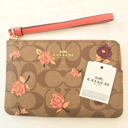 Coach Iphone Android Case Pouch Pochette Travel Makeup Strap Zippy Wallet Purse Toiletry Change Wristlet in Pink/Silver Image 1