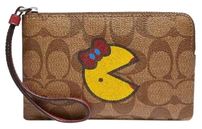 Item - Cc Red Pac Man Zippy Pouch Pochette Pink/Silver Leather Wristlet