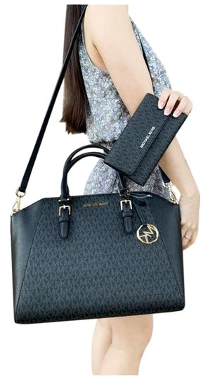 Preload https://img-static.tradesy.com/item/25493667/michael-kors-ciara-saffiano-large-top-trifold-wallet-set-black-satchel-0-1-540-540.jpg