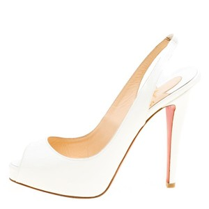 Christian Louboutin Patent Leather Slingback White Sandals