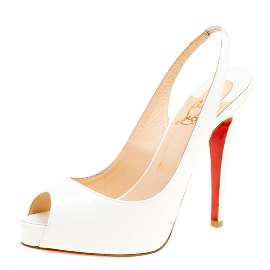 Christian Louboutin Patent Leather Slingback White Sandals Image 1