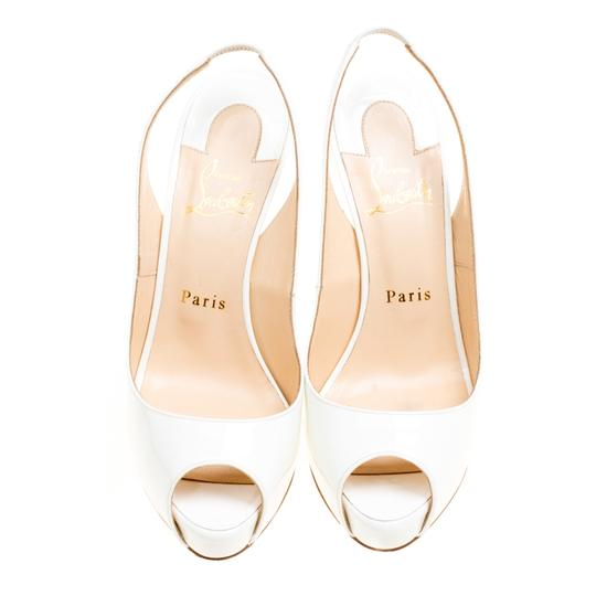 Christian Louboutin Patent Leather Slingback White Sandals Image 2