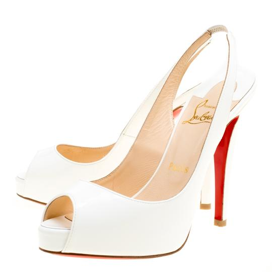 Christian Louboutin Patent Leather Slingback White Sandals Image 3