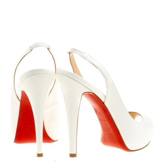 Christian Louboutin Patent Leather Slingback White Sandals Image 4