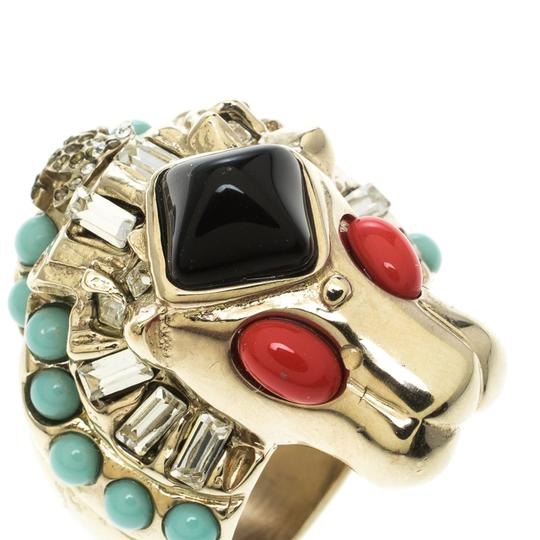 Chanel Lion Head Multi color Cabochon Gold Tone Cocktail Ring Size 52 Image 3