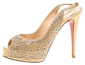 Christian Louboutin Studded Patent Leather Beige Sandals