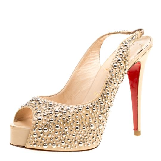 Christian Louboutin Studded Patent Leather Beige Sandals Image 1