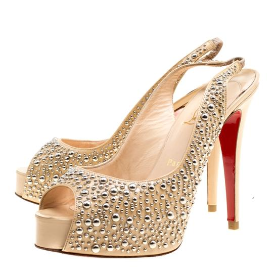 Christian Louboutin Studded Patent Leather Beige Sandals Image 3