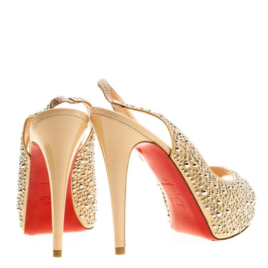 Christian Louboutin Studded Patent Leather Beige Sandals Image 4