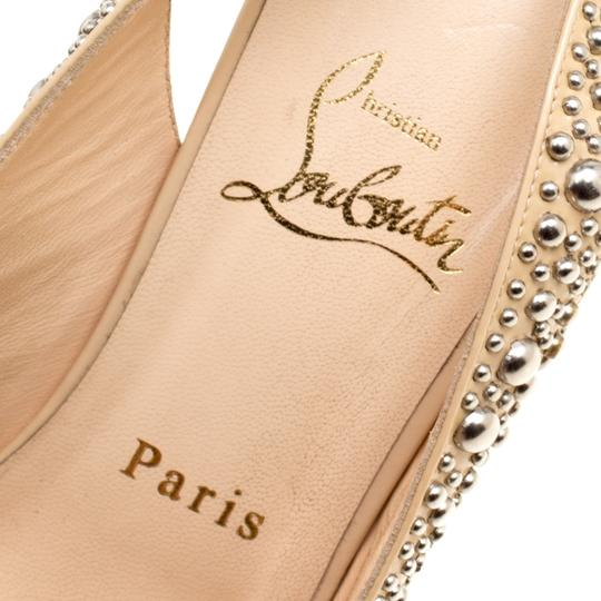 Christian Louboutin Studded Patent Leather Beige Sandals Image 5