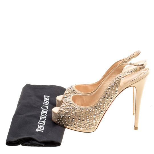 Christian Louboutin Studded Patent Leather Beige Sandals Image 7