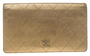Chanel Gold Quilted Leather Classic Bifold Continental Wallet