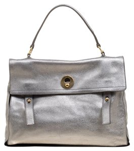 Saint Laurent Suede Leather Satchel in Silver