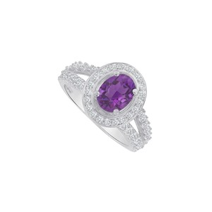 Marco B Amethyst and CZ Split Shank Ring in 14K White Gold