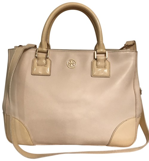 Preload https://img-static.tradesy.com/item/25493838/tory-burch-robinson-double-zip-saffiano-and-patent-white-beige-leather-satchel-0-1-540-540.jpg