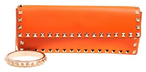 Valentino Leather Bangle Orange Clutch