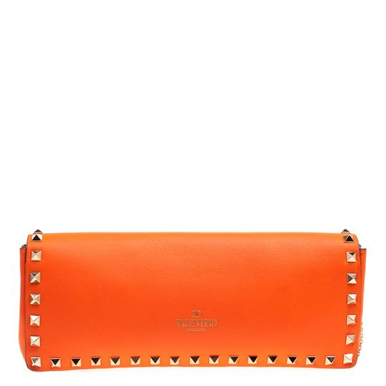 Valentino Leather Bangle Orange Clutch Image 1